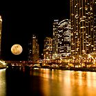 Chicago River Moon by Adam Bykowski