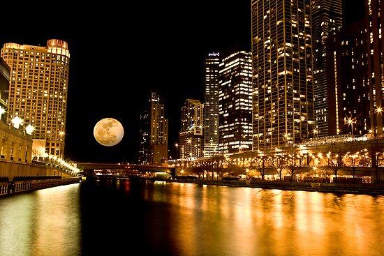 Chicago River Moon by Adam Bykowski