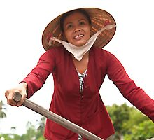 Oars lady of the Mekong Delta by Janette Anderson