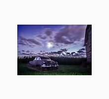 An old rusty 50's caddy in the moonlight by a cornfield Unisex T-Shirt