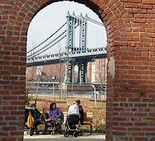 View of Manhattan Bridge from Brooklyn Bridge Park, New York by lenspiro