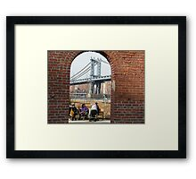 View of Manhattan Bridge from Brooklyn Bridge Park, New York Framed Print