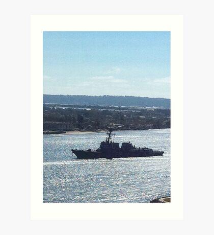Battleship in San Diego Harbor Art Print