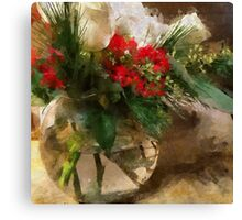 Christmas Flowers in Glass Vase Canvas Print