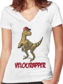 Velocirapper Women's Fitted V-Neck T-Shirt