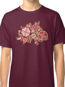 Golden Embroidery Flowers Classic T-Shirt
