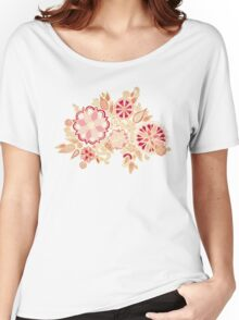 Golden Embroidery Flowers Women's Relaxed Fit T-Shirt