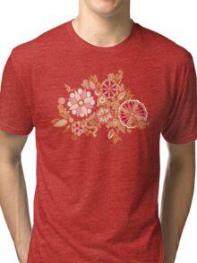 Golden Embroidery Flowers Tri-blend T-Shirt