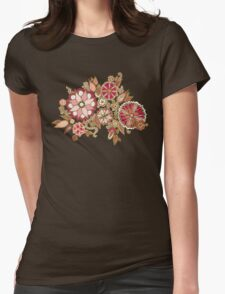 Golden Embroidery Flowers Womens Fitted T-Shirt