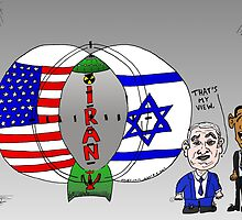 Venn Diagram Cartoon of The US Israel and Iran by bubbleicious