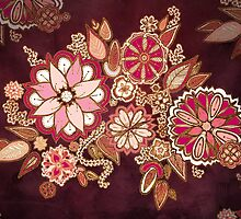 Golden Embroidery Flowers by Barbora  Urbankova