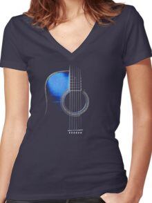 Blue Acoustic Guitar Hi-Lite Women's Fitted V-Neck T-Shirt
