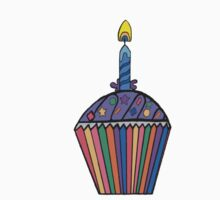 Cupcake with a candle - 1st Birthday Kids Tee