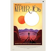 Binary Star System Astronaut on Exoplanet Kepler 16b Photographic Print