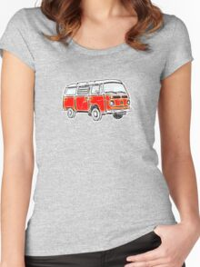 Bay Window Campervan Orange Worn Well Women's Fitted Scoop T-Shirt