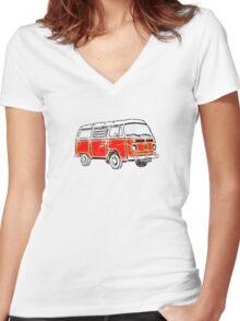 Bay Window Campervan Orange Worn Well Women's Fitted V-Neck T-Shirt