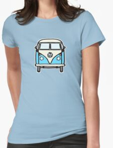 Blue White Campervan (slightly cubist) Womens Fitted T-Shirt