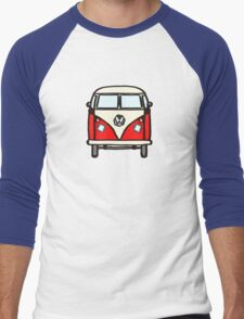 Red White Campervan (slightly cubist) Men's Baseball ¾ T-Shirt