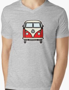Red White Campervan (slightly cubist) Mens V-Neck T-Shirt