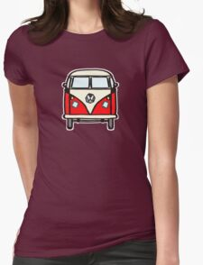Red White Campervan (slightly cubist) Womens Fitted T-Shirt
