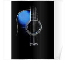 Blue Acoustic Guitar Hi-Lite Poster