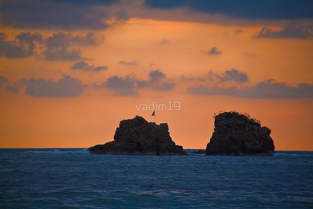Costa Rica. Manuel Antonio NP. Two Rocks at the Sunset. by vadim19