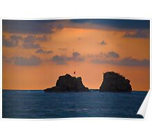 Costa Rica. Manuel Antonio NP. Two Rocks at the Sunset. Poster
