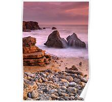 Waves over Rocks Poster