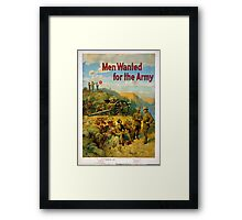 Vintage World War I Men Wanted for the Army Framed Print