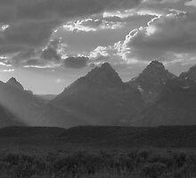The Grand Teton Range (pan, black & white) by A.M. Ruttle