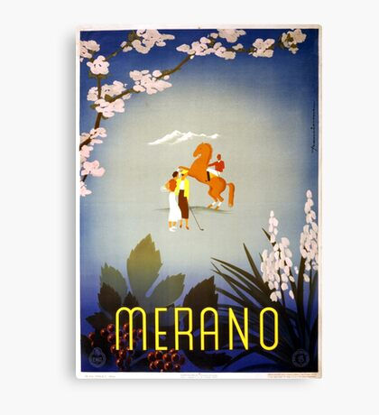 Vintage Horse and Golfers Merano Italy Travel Canvas Print