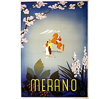 Vintage Horse and Golfers Merano Italy Travel Photographic Print