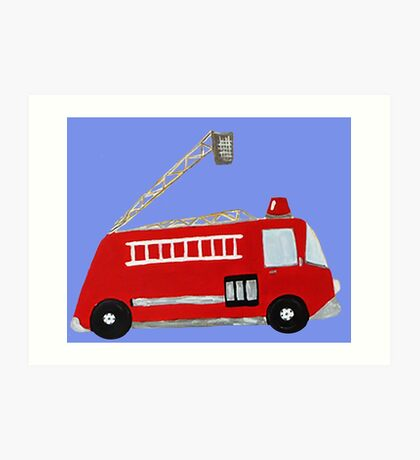 Unique red firetruck design Art Print