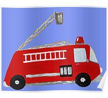 Unique red firetruck design Poster