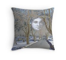 Cemetery Lasdscape With Angel Moon Throw Pillow
