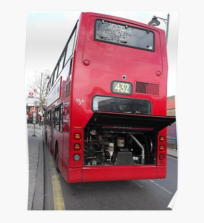 Broken down red double decker bus -(100312)- digital photo Poster