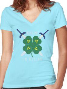 Kiss Me I'm Hylian Women's Fitted V-Neck T-Shirt