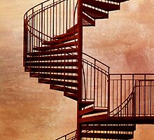 Red spiral staircase. by cloud7