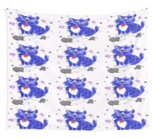 Fantasy and unique blue kitty Wall Tapestry