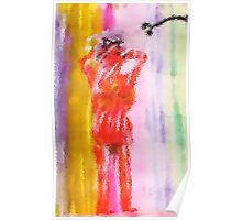 As she washes her hair in the shower, watercolor Poster