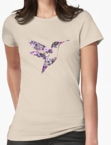 Purple Floral Hummingbird Art T-Shirt
