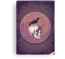 Crow and Skull Collage Canvas Print