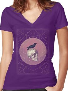 Crow and Skull Collage Women's Fitted V-Neck T-Shirt