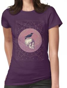 Crow and Skull Collage Womens Fitted T-Shirt