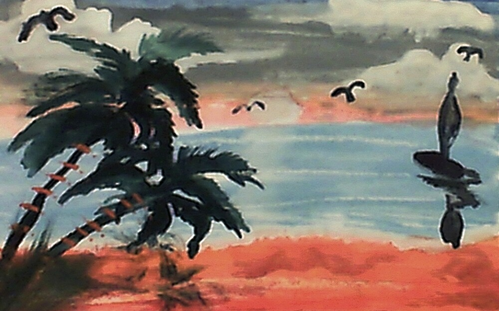 Cloudy day, waterolor by Anna  Lewis, blind artist