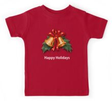 Christmas Holly Bells and Red Ribbon Kids Tee