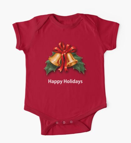Christmas Holly Bells and Red Ribbon One Piece - Short Sleeve