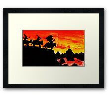 Southwestern theme, Sunet in valley, watercolor Framed Print
