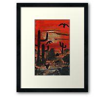 Sunset over the desert, Southwestern theme,  watercolor Framed Print