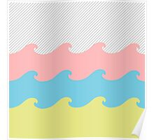 Colorful Abstract Waves and Stripes Pattern Poster